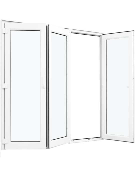 White uPVC bifold door cut out