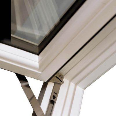 White flush sash window dual hinge
