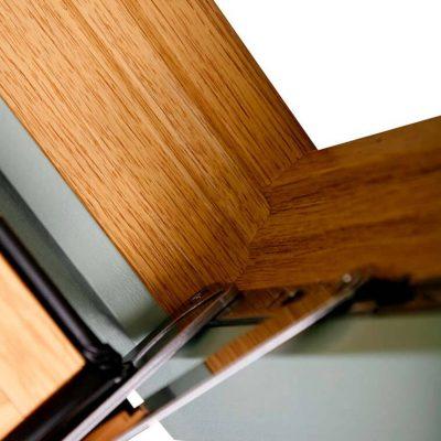 Oak effect flush sash window dual hinge