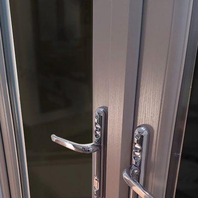 Oak grain effect uPVC french door