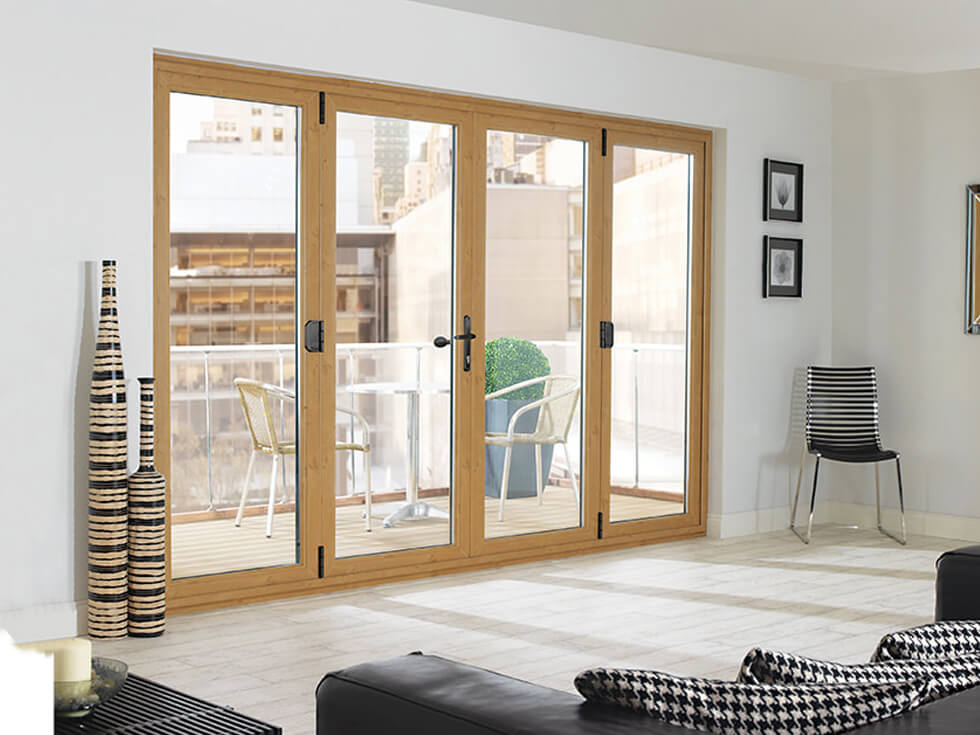 Irish oak effect bifold door interior view