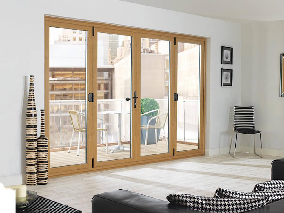 Irish oak effect bifold door interior view
