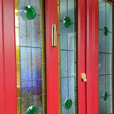 Red uPVC entrance door close up