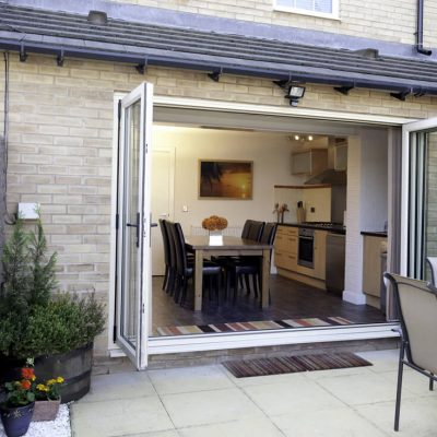 White uPVC bifold door