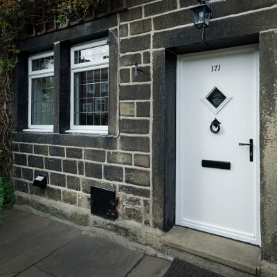 White Composite entrance door with black hardware