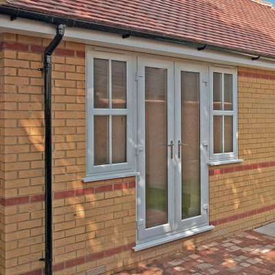 White uPVC Rehau french doors