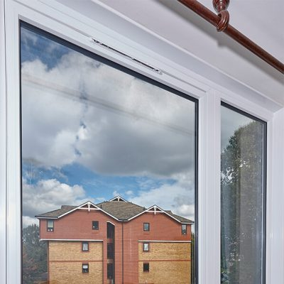 White uPVC Reversible window installation