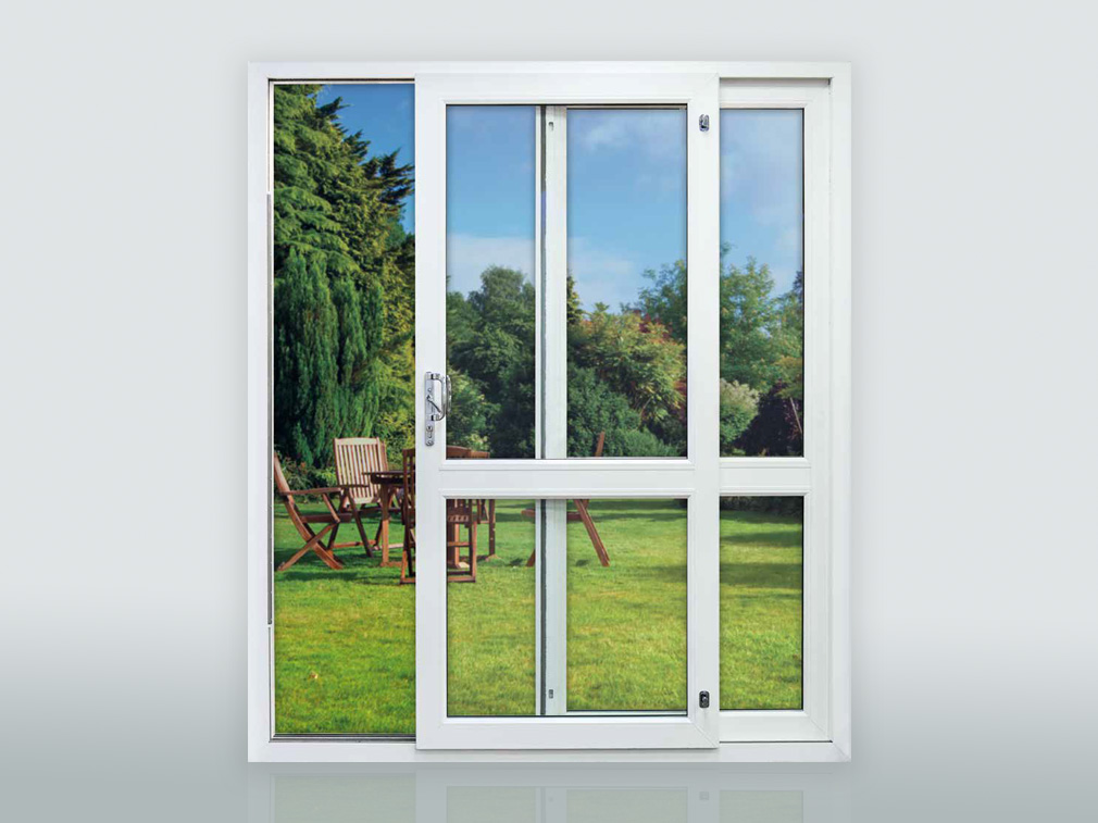 White uPVC inline sliding door