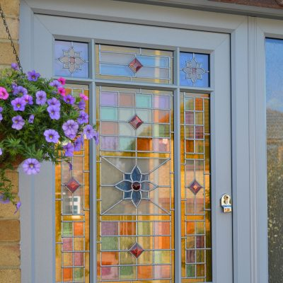 Victorian Styled Period Door with coloured glass